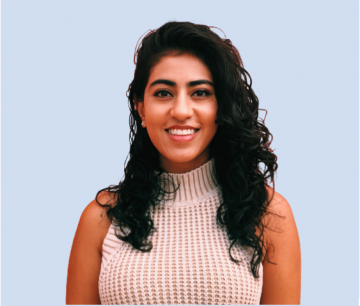 Columbia Law student Sana Singh '21 in sleeveless blouse
